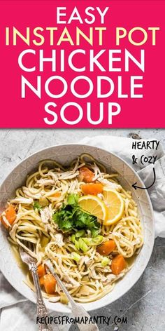 This hearty cozy easy Instant Pot Chicken Noodle Soup (best Instant Pot Chicken Soup with Noodles) is quick to make & high in flavor.Great for easy weeknights, meal prep & for cold sufferers. Perfectly seasoned chicken breast fillets + poached veggies + hearty spaghetti noodles in a broth make a comforting bowl of Instant Pot soup for the whole family! #instantpot #instantpotrecipes #instantpotchickensoup #instantpotsoup #instantpotchickennoodlesoup #soup #chickensoup #comfortfood #frugalmeal Instant Pot Chicken Thighs Recipe, Best Instant Pot Recipe, Instant Pot Dinner Recipes, Supper Recipes, Lunch Recipes, Beef Recipes, Soup Recipes, Chicken Recipes, Noodle Recipes