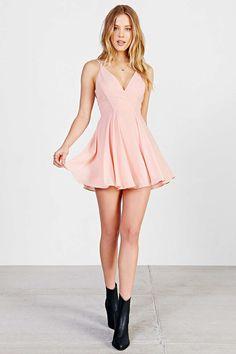 Sparkle & Fade Strappy Chiffon Skater Dress