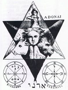 vagabondbohemia: Illustration from Eliphas Levi's Dogma Et Rituel De La Haute Magie Occult Symbols, Occult Art, Witchcraft Symbols, Magic Symbols, Ezekiel's Wheel, Eliphas Levi, Seal Of Solomon, Alchemy Art, Esoteric Art