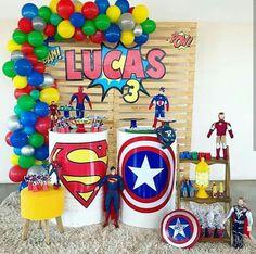 Barney Birthday Party, Superhero Birthday Party, Boy Birthday Parties, Birthday Party Decorations, 4th Birthday, Party Themes, Avengers Birthday, Birthday Design, Rainbow Baby