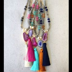 Shop Women's Function & Fringe Purple Pink size Various Necklaces at a discounted price at Poshmark. Description: Beautiful sparkling long necklaces made with Laboradorite, faceted Jade gemstones and authentic pearl beads with a gold plated agate pendant with bright color tassel. Chain is 18k gold plated. Finished with Function & Fringe gold feather charm at the clasp. Tassels are soft and silky with great movement. Separate photos and listings coming soon. Comment with your tasse...