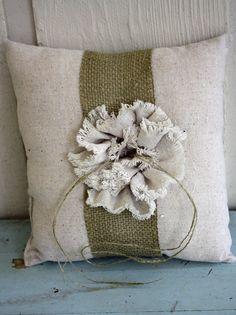 burlap ring bearer pillow from etsy