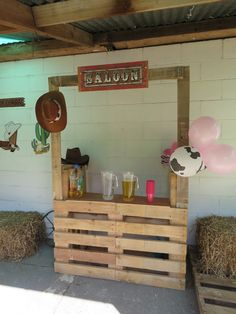 Wild West Sheriff Callie Party - Pallet SaloonYou can find Cowboy party and more on our website. Rodeo Party, Cowboy Theme Party, Horse Party, Farm Party, Sheriff Callie Birthday, Cowboy Birthday Party, Cowgirl Birthday, Horse Birthday, Country Birthday