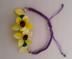 Micro Macrame Bracelet , Flower Bracelet , Adjustable Bracelet ,Purple Macrame Bracelet, Macrame Bracelet by Rosestyle on Etsy