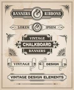 Vintage banner and ribbon clip art design set by Instantgraffix