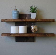 Rustic Modern 2 Tier Floating Wall Shelf por KeoDecor en Etsy