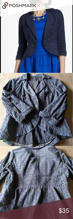 Spun Eyelet Navy Blazer Anthropologie Stunningly beautiful eyelet blazer from Anthropologie. So incredibly detailed in person. Great pre-loved condition. Anthropologie Jackets & Coats Blazers