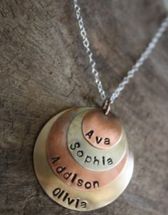 Mixed Metals Hand Stamped Stack Name Necklace