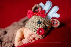 Christmas hat, baby hat, newborn girl hat, reindeer hat, crochet reindeer hat, rudolph hat, girls reindeer hat by VioletandSassafras on Etsy https://www.etsy.com/listing/166967250/christmas-hat-baby-hat-newborn-girl-hat