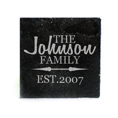 Black Granite Coasters (set of 4) - Personalized family name with est date and arrows