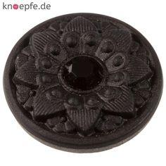 Glasknopf in Schwarz mit aufwendigem Motiv und einem Chatonstein