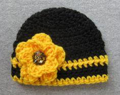 Black Gold Newborn Baby Girl Hat, Colors of Mizzou Tigers Shockers Iowa Hawkeye Steelers Vanderbilt Missouri, Yellow Fall Winter Beanie Cap