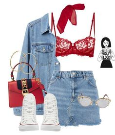 A fashion look from August 2017 featuring long jean jacket, short denim skirts and la perla bra. Browse and shop related looks. Edgy Outfits, Swag Outfits, Mode Outfits, Cute Casual Outfits, Girl Outfits, Fashion Outfits, Womens Fashion, Fashion Trends, Summer Outfits