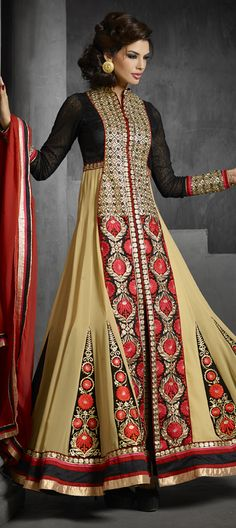 6,480 Cost includes Dress material for Kameez, Bottom & Dupatta. Worldwide Shipping is FREE (Guaranteed 2 Business days dispatch) Tentative Delivery By 12 Feb, 2015 417589: Black and Grey, Beige and Brown color family unstitched Anarkali Suits.