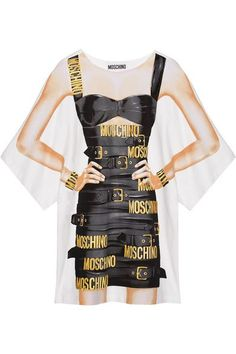 Moschino - Oversized Printed Cotton-blend Jersey Mini Dress - White - IT