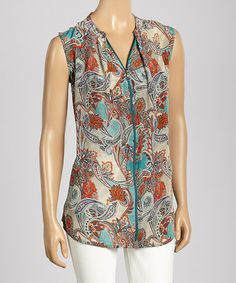 Look what I found on #zulily! Turquoise & Coral Paisley Zipper Sleeveless Top by Trisha Tyler #zulilyfinds