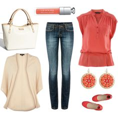 coral and cream. I can't wear red, but maybe I could get away with coral. I'm trying it. Love this