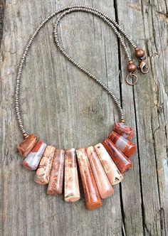 Red Jasper statement bib necklace, red stone necklace