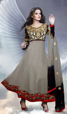 Black and Gray Georgette Long Anarkali Suit Price: Usa Dollar $108, British UK Pound £64, Euro80, Canada CA$117 , Indian Rs5832.