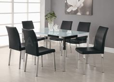 Decoration Ideas: Gorgeous Dining Table Design With Rectangular Glass Dining Table Top Complete With Black Chairs On Metal Legs Combine With Grey Wall Paint And Laminate Floor . Ikea Dining Table, Table Bases, Small Dining Tables, Wrought Iron Dining Table Bases, Metal Dining Chairs | Cool Home Interior And Exterior Source