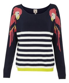 Navy Stripe Parrot Sweater
