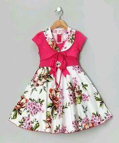 Pink Floral Dress Shrug - Toddler Girls by Candy Girl Very spring. Frocks For Girls, Kids Frocks, Little Girl Outfits, Little Girl Fashion, Little Dresses, Little Girl Dresses, Cute Dresses, Kids Outfits, Kids Fashion
