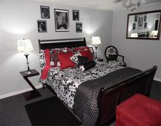 black white gray red Pretty much exactly what I wan my room to look like!!