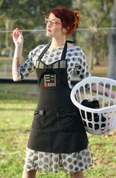 Darth Vader inspired Cosplay Cooking apron by HauteMessThreads, **I SEW need to make myself one Nerd Fashion, Funky Fashion, Dinner Wear, Geek Crafts, Star Wars Party, Geek Chic, Diy Costumes, Style Me, At Least