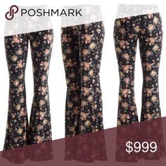 "Black floral print flare pants Beautiful boho black floral print flare pants. Great pastel colors of blush, yellow, and blue. Material is 97% polyester and 3% spandex and a very soft leggings material. Elastic waist with a 32"" inseam. Waist measured flat: Small 12.5"", Medium 13.5"" and Large 15"". Material has stretch to it and I am a size 6 and wear the medium comfortably. Super comfy, cute and chic Pants Boot Cut & Flare"