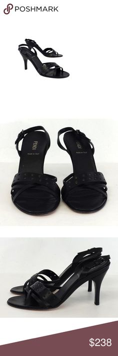 """Fendi- Black Studded & Cut Out Leather Sandal Heels Sz 8 Size 8 (EU 38.5) Black Studded & Cut Out Leather Sandal Heels Made in Italy Adjustable ankle straps Some out sole wear Heel height 4"""" Fendi is an Italian designer of luxury merchandise. The company is well known for its """"baguette"""" handbags. Although their bags are extremely popular, their ready-to-wear, shoes, eyewear and other accessories are becoming more and more coveted. Fendi Shoes Heels"""