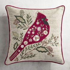 Embroidered Holiday Cardinal Pillow #affiliate