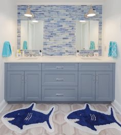 Designing a Kid-Friendly Bathroom Boys Bathroom Themes, Kid Bathroom Decor, Childrens Bathroom, Beach Theme Bathroom, Bathroom Renos, Remodled Bathrooms, Shared Bathroom, Modern Bathroom, Little Boy Bathroom