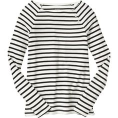 Gap Women Favorite Stripe Button Boatneck Tee (200.910 IDR) ❤ liked on Polyvore featuring tops, t-shirts, slim fit white t shirt, embellished tee, slim t shirts, long length t shirts and layering t shirts