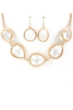 Golden Anatori Glass Teardrop Necklace on Emma Stine Limited