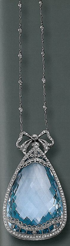 Antique Aquamarine and diamond pendant which was auctioned off at Sotheby's in 2001.