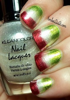 amazing nail idea for the holidays, or do green white and orange in march if you're cool like Aiesha and I.