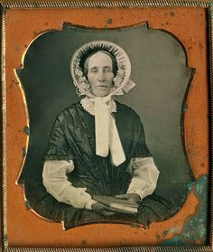 Woman in Spring Fashions with a Book, 1/6th-Plate Daguerreotype, Circa 1848