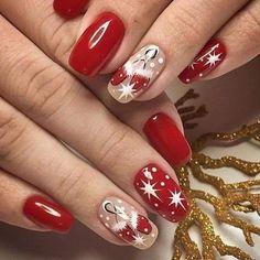 Chic Nails, Classy Nails, Fancy Nails, Trendy Nails, Nail Art Designs Videos, Christmas Nail Art Designs, Christmas Gel Nails, Holiday Nails, Nailart