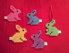 Colorful Easter bunnies made of iron beads of m m – Famous Last Words Quilting Beads Patterns Perler Beads, Perler Bead Art, Fuse Beads, Fuse Bead Patterns, Perler Patterns, Beading Patterns, Quilt Patterns, Hama Beads Design, Iron Beads