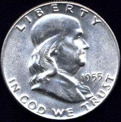 1955 Silver Half Dollar Rare Coins Worth Money, Valuable Coins, Collector Knives, Foreign Coins, Coin Art, American Coins, Coin Values, Antique Coins, Old Money