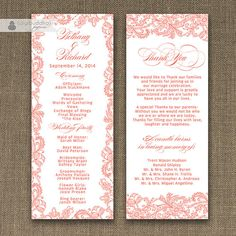 "Coral Lace Wedding Program Double Sided Shabby Chic 4x10"" Rustic Typography Pink Lacy 2 Sided Front & Back DIY Printable - Bethany Style available at digibuddha.com"