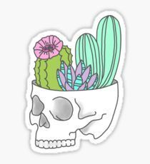 Skull succulent feminist skeleton cactus southwest girly tumblr pastel print Sticker