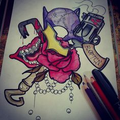 #batman #joker #laugh #gun #necklace #rose #neotraditional #tattoo #pain #rotten #mouth #flower