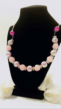 Pink and white glass bead necklace