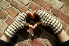 Long Fingerless Gloves, One of a Kind Hand Knitted Brown and White Striped Gloves by PolClary