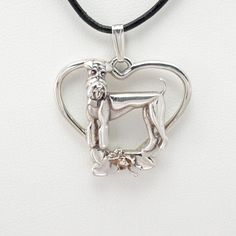 """Sterling Silver Airedale Pendant w/ 18"""" Sterling Chain by Donna Pizarro fr Animal Whismey Collection of Dog Jewelry and Airedale Jewelry"""