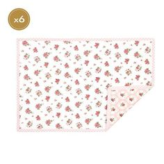 Clayre & Eef Pink Flower Design Set of 6 Placemats