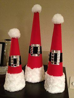 Santa Hats!!  Such a cute, easy, DIY Christmas Craft :)