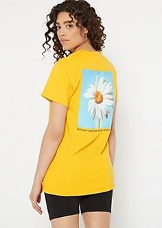 Sprinkle some positivity on your look with this cheery yellow tee! It features short sleeves, a crew neck, and 'No Rain No Flowers' script. Oversized Graphic Tee, Graphic Tees, Cheap Clothing Websites, No Rain No Flowers, Yellow Tees, Orange Tie, Black Ombre, Flower Graphic, Black Tie Dye
