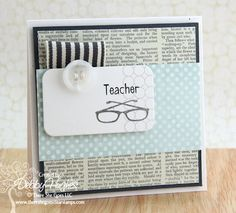 love the striped ribbon with a button and the layered stamping on the die cut piece.